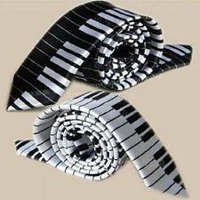 2x Black & White Piano Keyboard Keys Necktie Tie New