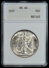 1937 Walking Liberty Half Dollar MS-64 ANACS Vintage 1st Gen ANA holder
