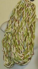 HAND MADE INFINITY SCARF WHITE LIME GREEN COPPER 7 X 42 INCHES