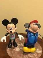 """Vintage Minnie & Mickey Mouse Toy Doll 5 1/2"""" Walt Disney Rubber Plastic Figures"""