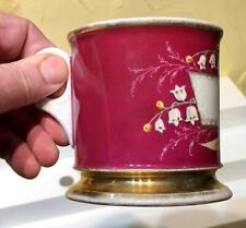 "Antique Maroon & Gilt ""Lilly of the Valley"" Porcelain Shaving Mug, c. 1875"