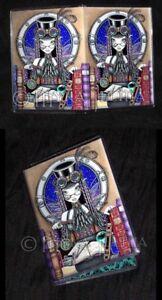 Steampunk Book Fairy Art ID Business Card Holder Victoria Myka Jelina