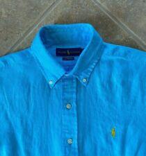 Ralph Lauren Oxford Shirt Mens S 100% Linen Blue w/ Yellow Pony Long Sleeve NWT