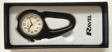 Ravel Clip on Carabiner Style Sprung Nurses Doctors Fob Watch Black R1105.03B