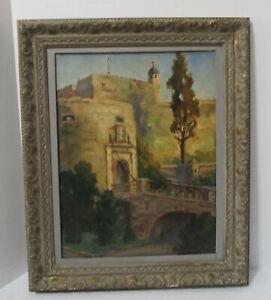 Antique 1900 Oil Painting Castle Drawbridge Signed