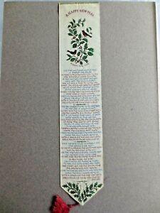Antique SILK BOOKMARK Stevengraph Stevens New Year Verse Robin Holly Eliza Cook