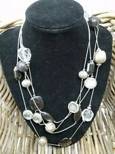 NY Vintage Silver Tone Chain With Multiple Gold Baubles And Beads Necklace