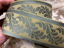 """Vintage EMBROIDERED 2"""" FRENCH JACQUARD 1yd COTTON SILK Antique Gold &Green TRIM"""