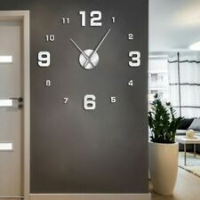 Diy Frameless Giant Wall Clock Modern Mute Mirror Number Stickers Non Ticking