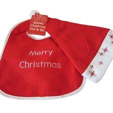 Rosso Bianco Natale Bambini Babbo Natale Cappello   Carino Bavaglino Set  BUON NA. 3b9582f91e6b