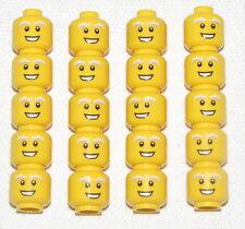 LEGO LOT OF 20 NEW YELLOW MINIFIGURE HEADS WHITE EYEBROWS OLD BUSHY EYES