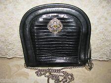Brighton Black Leather Chain shoulder bag Purse handbag #117
