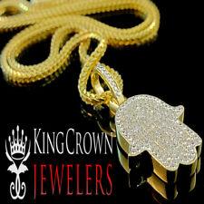 Real Genuine Diamond Hamsa Fatima Hand Mini Pendant 10K Yellow Gold Finish Charm