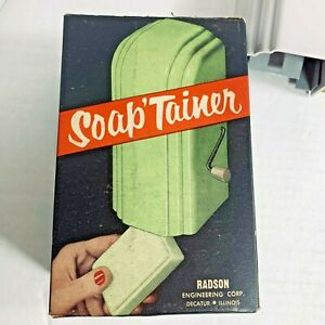 Vintage Soap 'Tainer by Radson Green Bar Soap Dispenser Dish Tray MCM NEW in Box