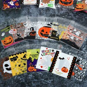 100X Halloween Pumpkin Cellophane Candy Sweet Bags Trick or Treat Party Favour