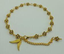 Gold Tones Daisy Flower Angel Wings Anklet Ankle Bracelet Beach Anklet