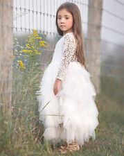 Lace Flower Girl Pageant Birthday Party Princess Bridesmaid Wedding Dress Size 8