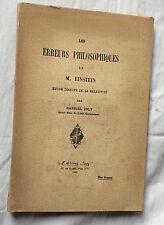 introuvable EO 1925 G.Joly LES ERREURS PHILOSOPHIQUES DE M.EINSTEIN Relativité