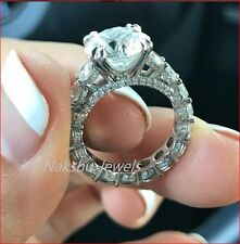 3CT Off White Forever One Moissanite Round Engagement Ring 925 Sterling Silver