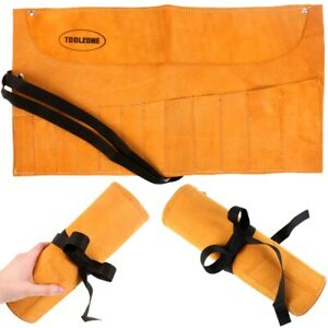 SUEDE LEATHER TOOL ROLL 12 Pocket Spanner Wrench Pouch Wallet Hide Bag Chisel UK