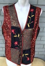 Coldwater Creek Made in India BOHO XL Embroidered Vest Womens Three Button