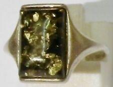 bague bijou argent 925 pur avec ambre verte rectangulaire poinçon T.54