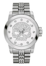 Harley-Davidson Women's Bulova Watch, Crystal Willie G. Skull Stainless 76L176