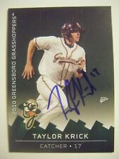 TAYLOR KRICK signed 2010 GREENSBORO baseball card AUTO Autographed LONG BEACH ST