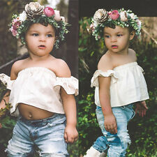 Toddler Kids Baby Girls Off Shoulder Tops Holes Jeans Denim Pants Outfits Set AU