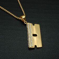 "Razor Blade Pendant & 24"" Chain set Iced Lab Diamond 14k Gold Pt Stainless Steel"