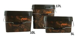 Fox Camo Heavy Duty Square Bait Bucket - 5L / 10L / 17L or Tray NEW Carp Fishing