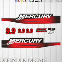 Mercury 9.9 HP Two Stroke outboard engine decal sticker RED kit reproduction