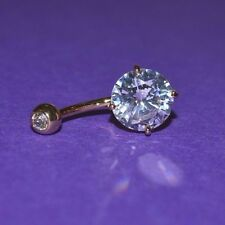 14 Ct GOLD PLATED DOUBLE GEM BELLY BAR LARGE 10 mm CLEAR CRYSTAL + 4 mm TOP