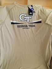GEORGIA TECH FOOTBALL T-SHIRT GOLD SMALL MEDIUM LARGE ADULT ADIDAS NEW WITH TAGS