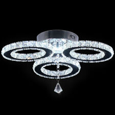 Moderne LED Kristall Kronleuchter 3 Ringe Deckenleuchte Edelstahl Pendelleuchte