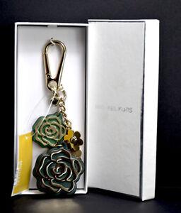 Michael Kors Cascading Green Flowers Womens Leathe and Metal Keyring Bag Charm