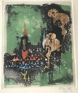 Vintage Friedlaender Abstract Aquatint Art Wall Hanging Mid Century Modern - 2