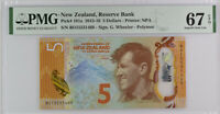 New Zealand 5 Dollars 2015 P 191 a Superb GEM UNC PMG 67 EPQ