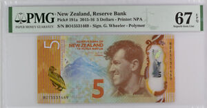 New Zealand 5 Dollars 2015 P 191 a Superb GEM UNC PMG 67 EPQ
