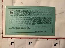 1900s Chiropractor Advertising Business Card A.W. Weiser, Doctor of Chiropractic