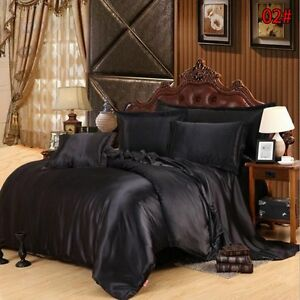 4PCS Luxury Satin Silk Queen Duvet Cover Bedroom Bed Bedding Set King Size New
