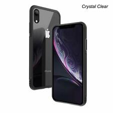 iPhone Xr Case, Premium Tempered Glass Clear Back Cover, Black Edge