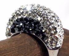 Gorgeous Huge Clear Black Rhinestone Rodium Cluster Statement Rings