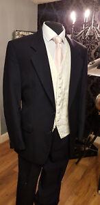 NAVY HERRINGBONE 100% WOOL QUALITY 3 PIECE SUIT FORMAL/WEDDING/MASONIC MJ-205A3