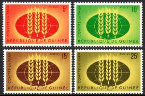"""Guinée 275-278,MNH Fao """" Liberté De Hunger """" Campaign.wheat Emblème,Globe,1963"""