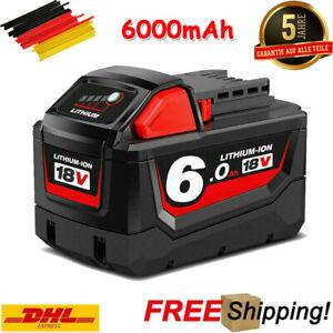 6,0Ah M18 Ersatz Akku Für Milwaukee High Output 18 Volt Li-Ion M18B5 Batterie
