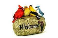 Mignon 4 oiseaux sur un Welcome Stone décoration jardin extérieure NEUF