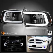 For 2009-2018 Dodge Ram 1500 2500 3500 Black Projector Headlights+Led Drl Bar (Fits: Dodge Ram 1500)