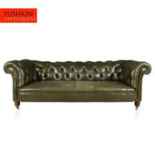 More details for antique 20thc victorian green leather chesterfield sofa c.1900