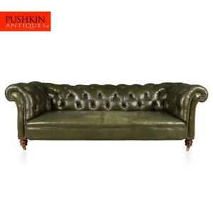 ANTIQUE 20thC VICTORIAN GREEN LEATHER CHESTERFIELD SOFA c.1900